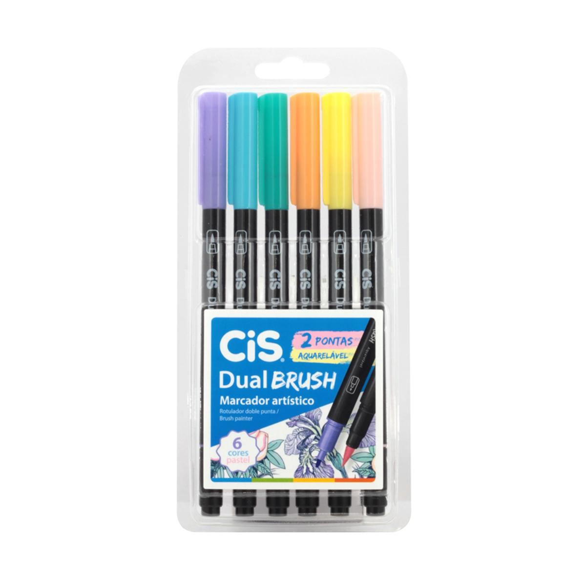 Caneta Cis Dual Brush Ponta Pincel Para Lettering Aquarelável 6 Cores Pastel