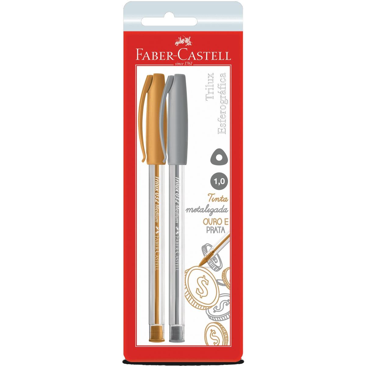 Caneta Esferográfica Trilux Prata e Dourado Faber Castell