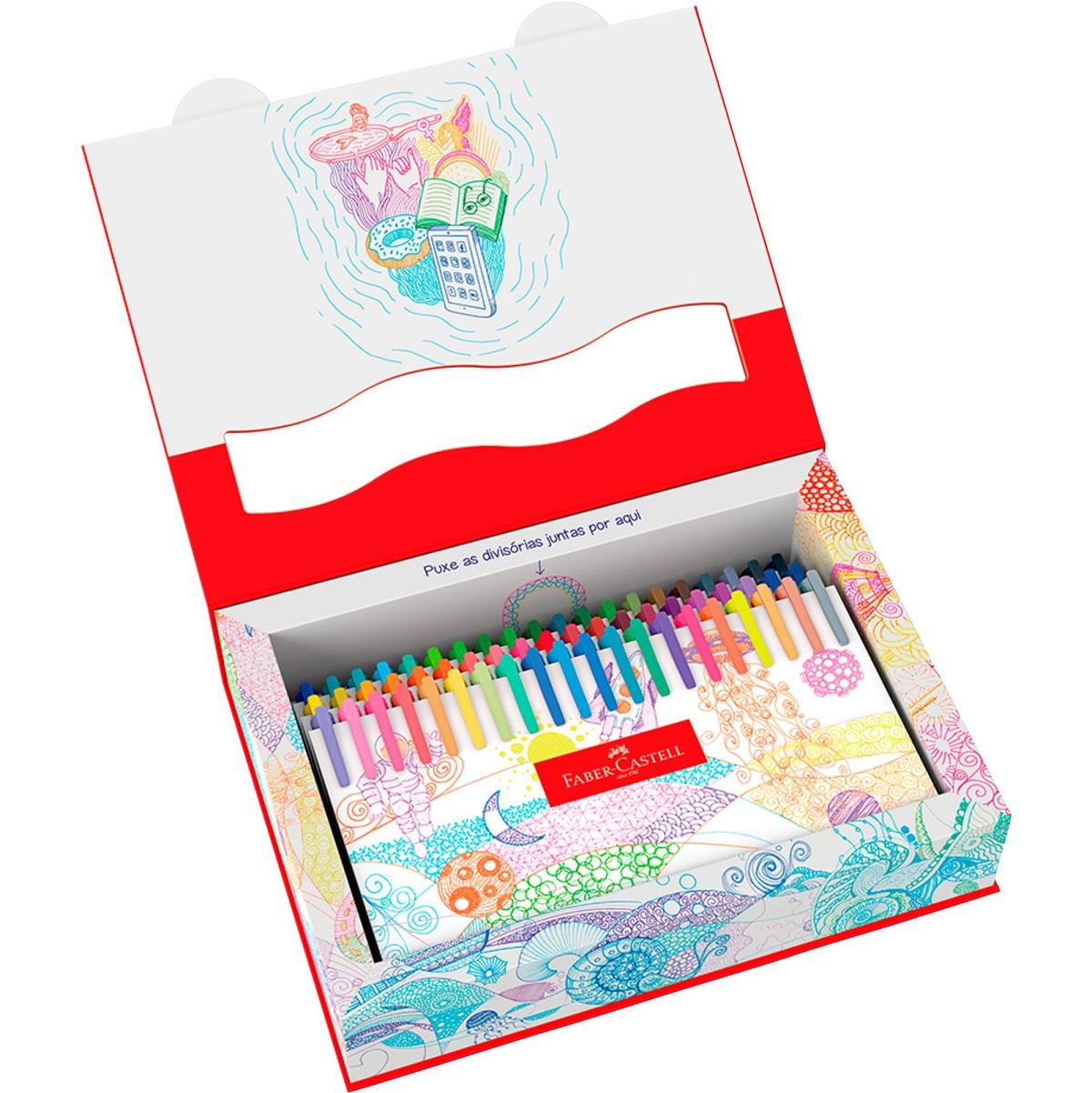 Caneta Fine Pen Colors 60 cores Faber Castell 0.4mm Fina