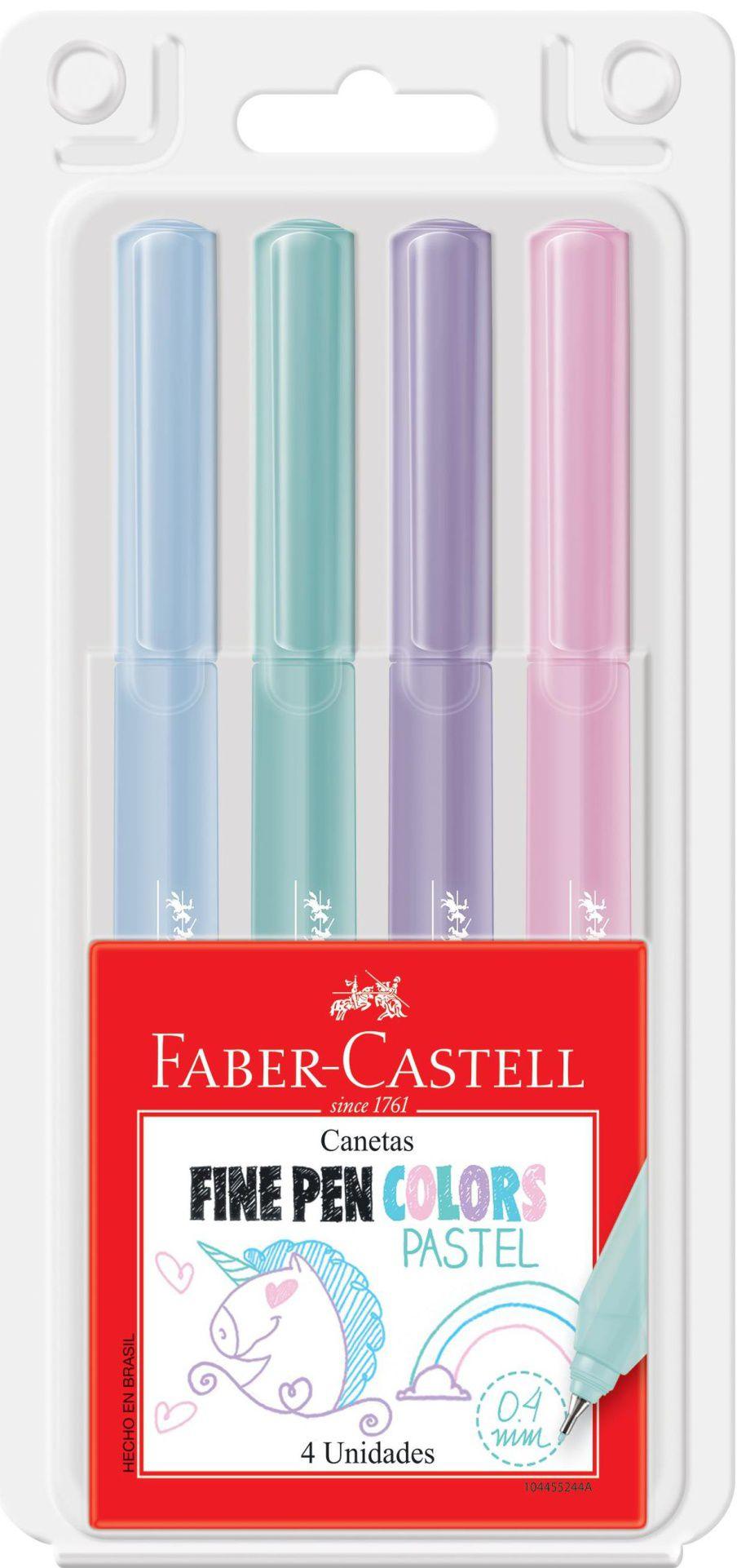 Caneta Fine Pen Tons Pasteis Faber Castell 4 Cores