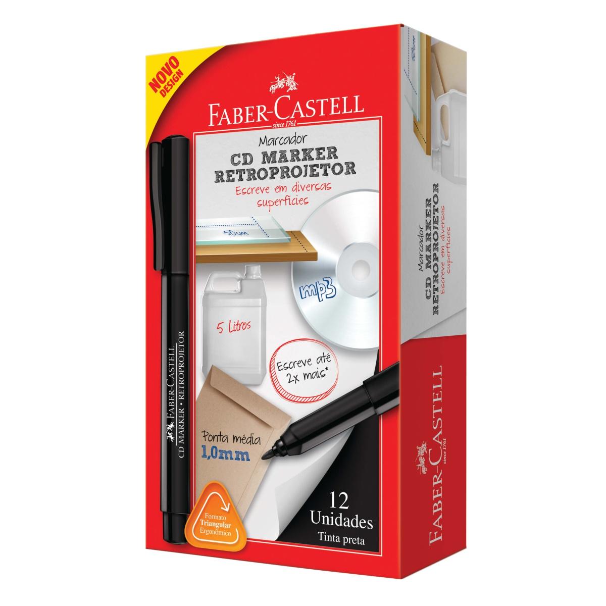 Caneta Retroprojetor Faber Castell 1.0mm Preta Caixa C/12 Unidades