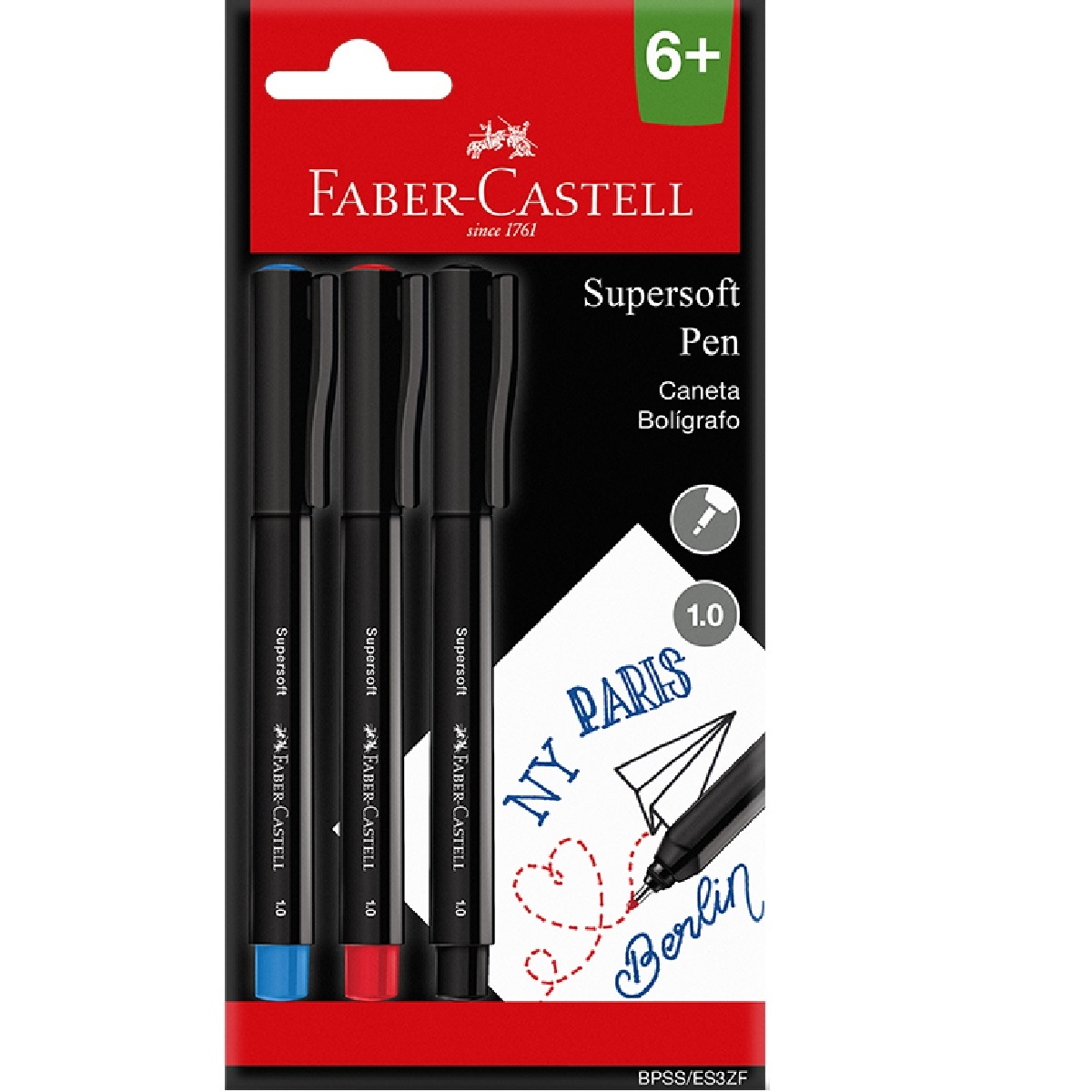 Caneta SuperSoft Pen 1.0mm Faber Castell 3 cores