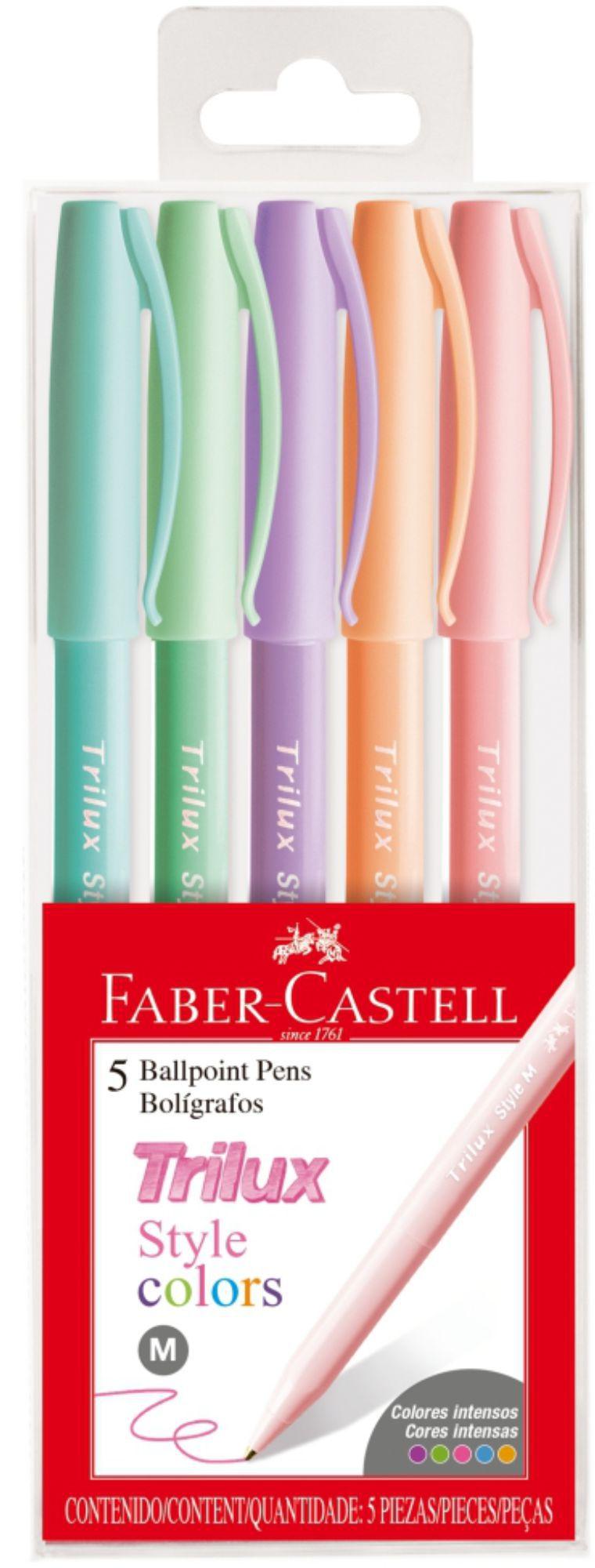 Caneta Trilux Faber Castell Pastel 5 Cores