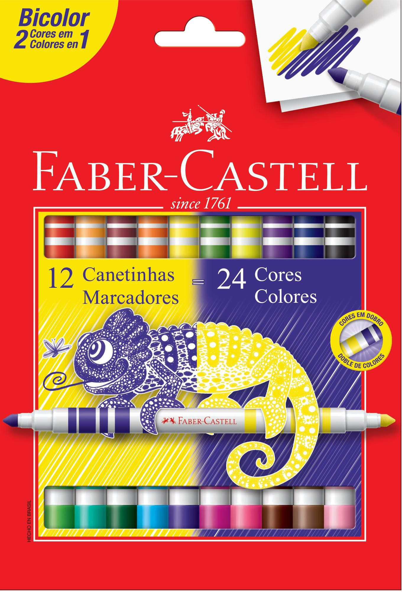 Canetinha Bicolor Faber Castell 24 Cores