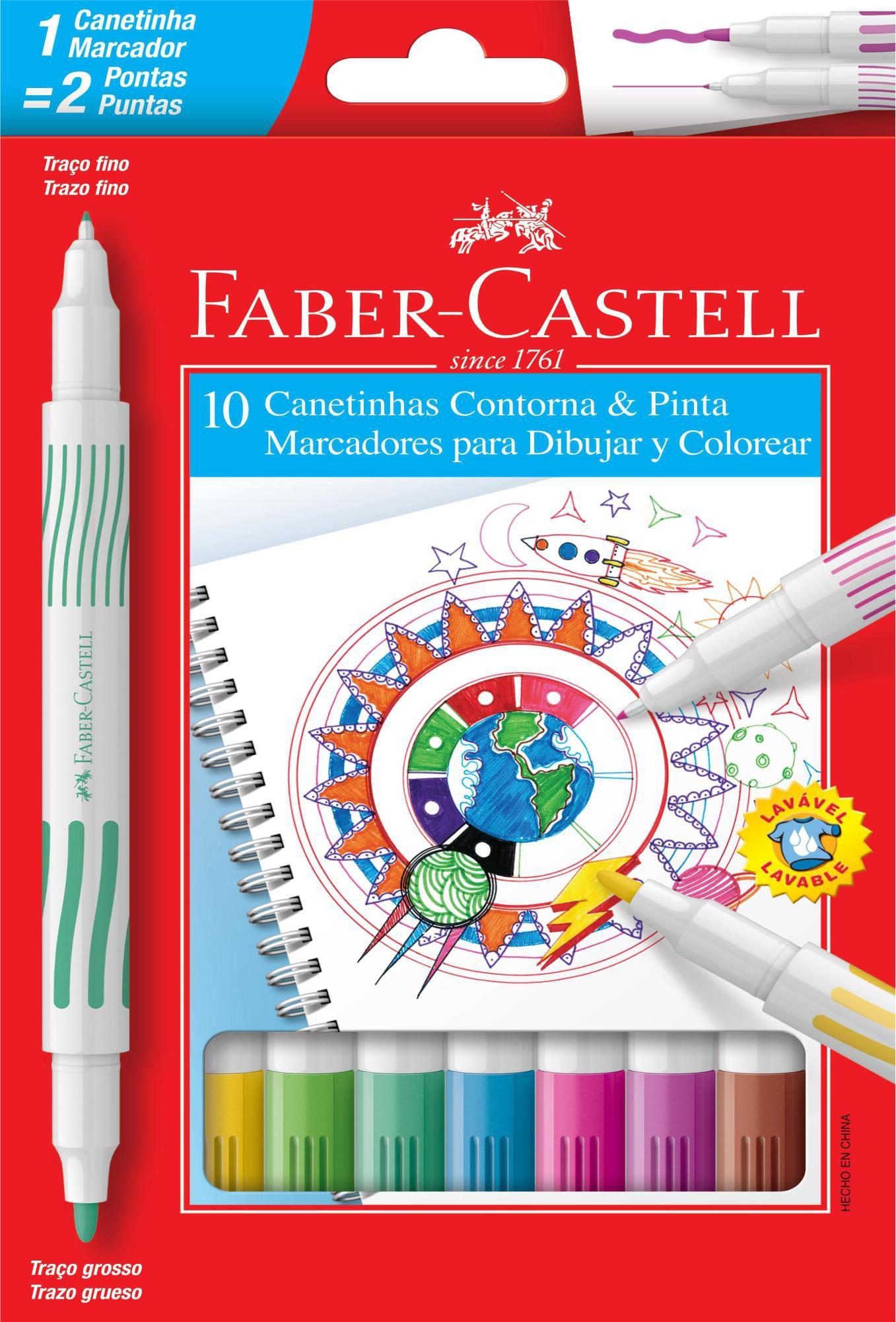 Canetinha Contorna e Pinta Faber Castell 10 Cores