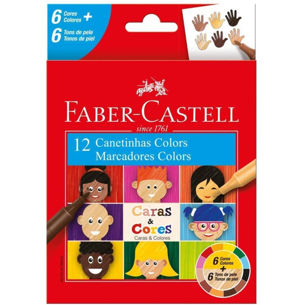 Canetinha Hidrográfica Faber Castell Caras e Cores C/12