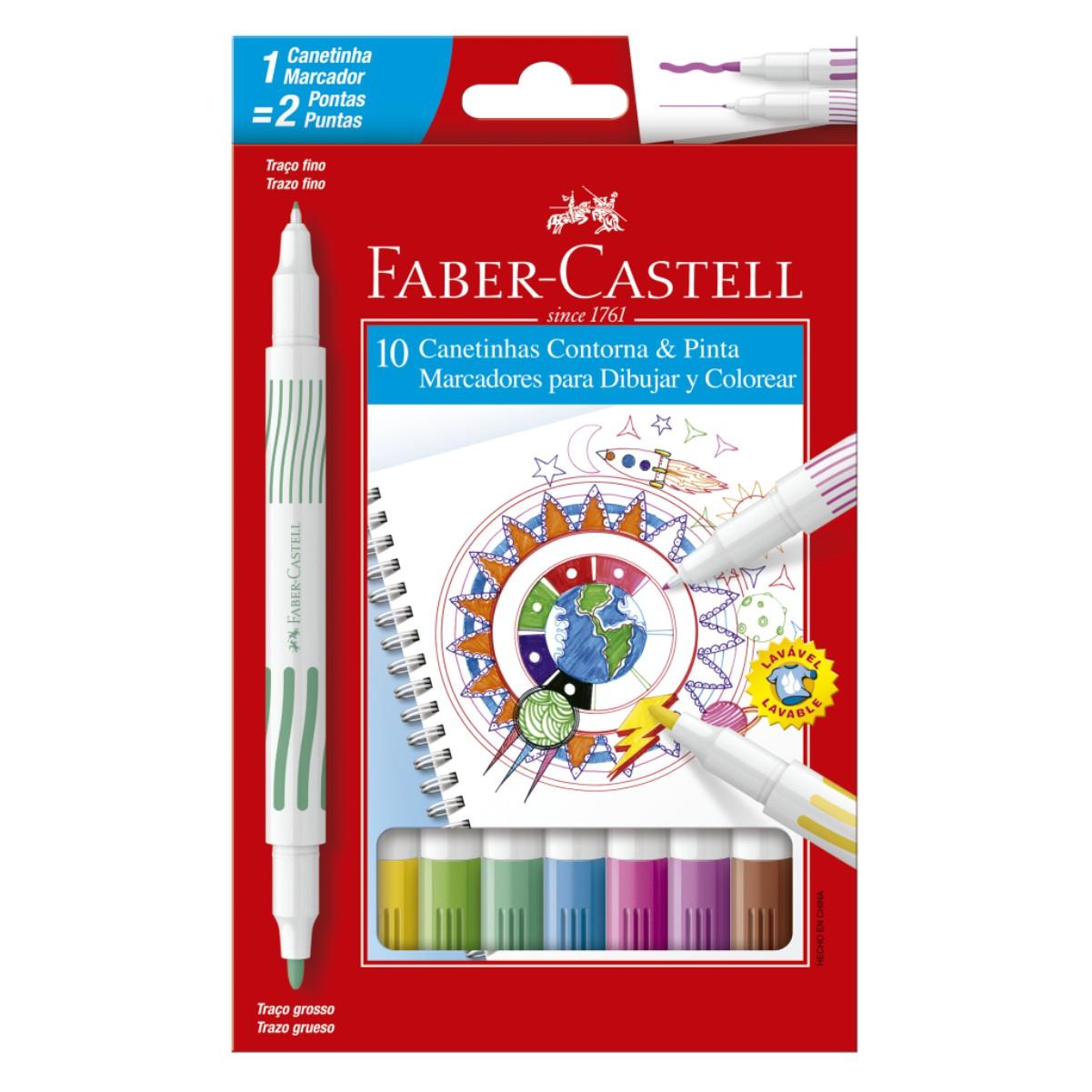 Canetinha Hidrográfica Faber Castell Contorna e Pinta Com 10 Cores