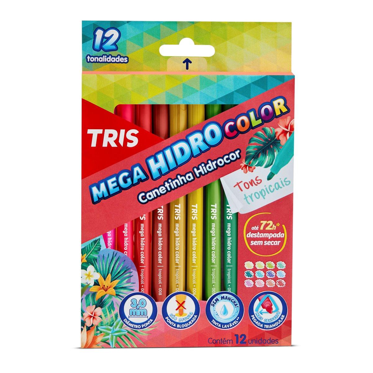 Canetinha Mega HidroColor Tris 12 Cores Tons Tropicais