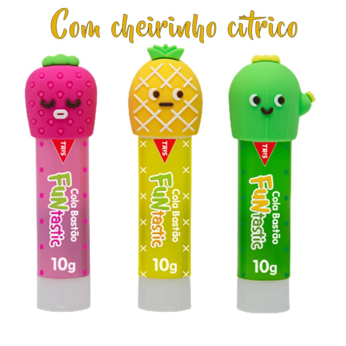 Cola Bastão Tris Tampinhas Divertidas Funtastic Com Aroma Cítrico