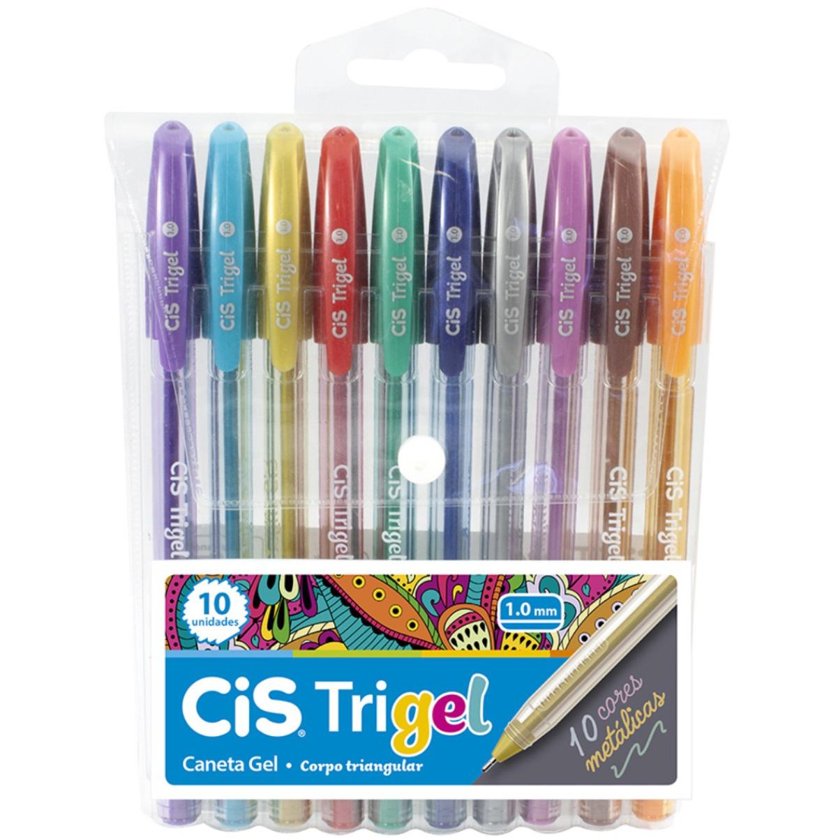 Conjunto Caneta Cis Trigel 1.0mm 10 Cores Metálicas