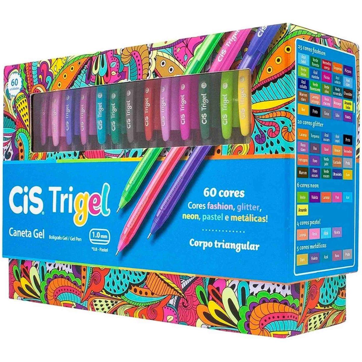 Conjunto Caneta Cis Trigel 1.0mm Triangular 60 Cores