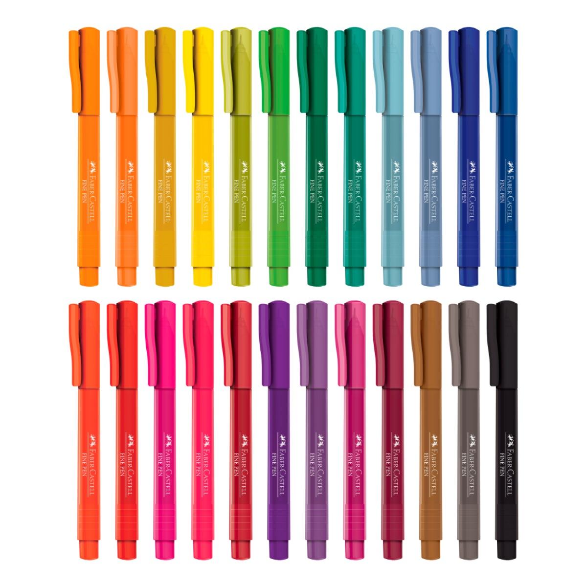 Conjunto Fine Pen 0.4mm Ponta Fina Faber Castell 24 Cores