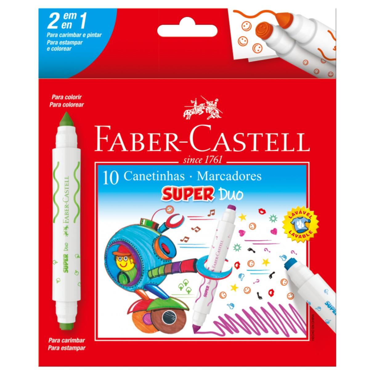 Conjunto Pincel Atômico Faber Castell Super Duo 10 Cores