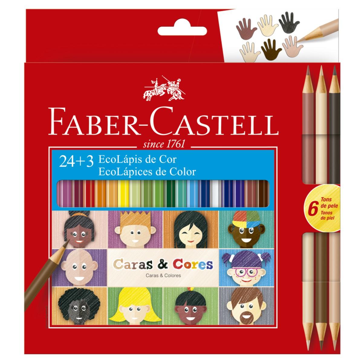 Lápis de Cor 24 Cores + 3 Caras e Cores