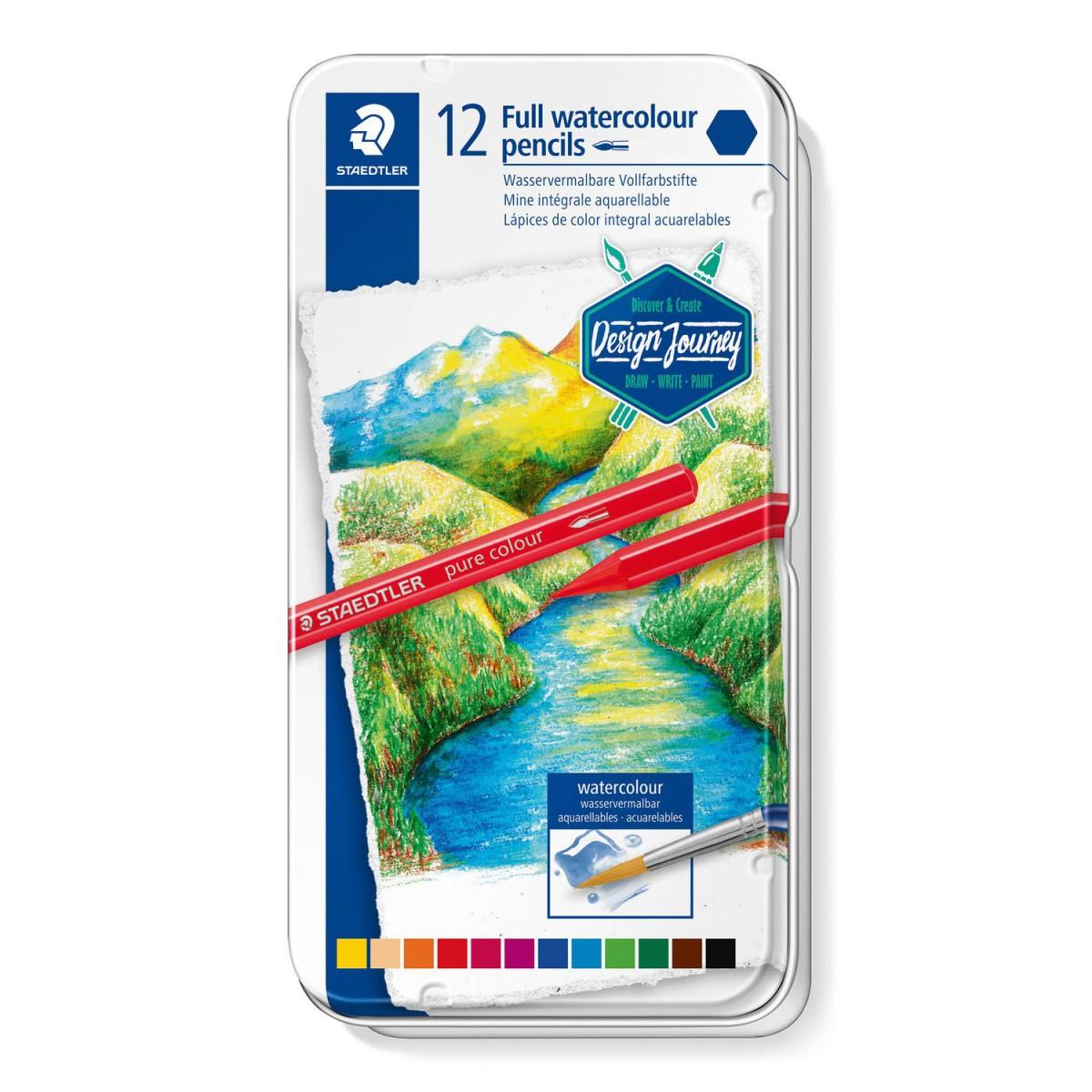 Lápis de Cor Aquarelável  Pure Colour Staedtler 12 Cores Lata