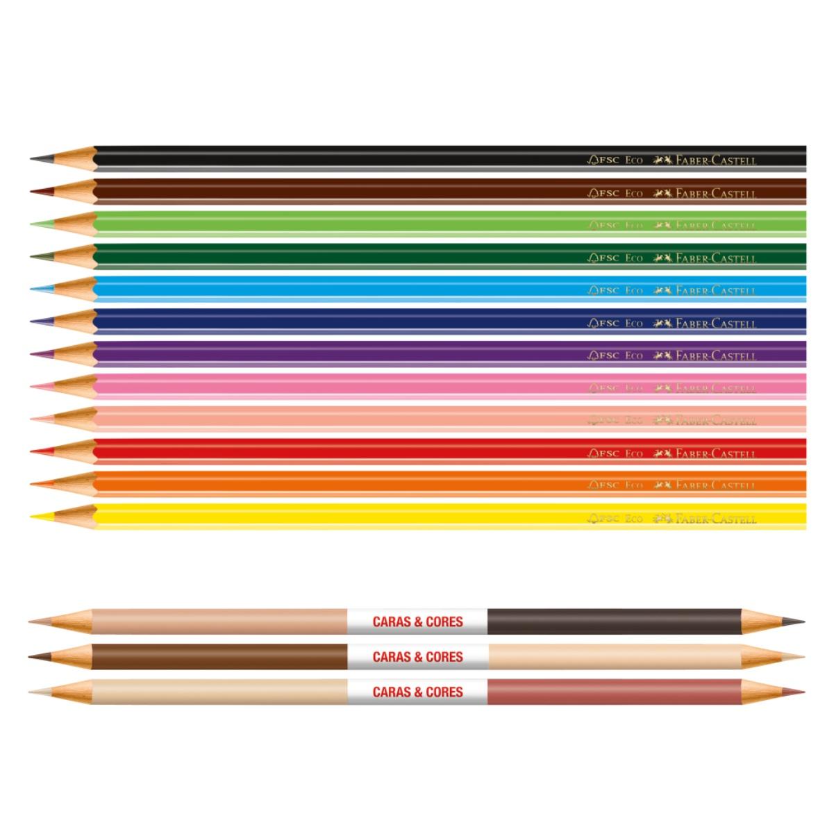 Lápis de Cor Faber Castell 12 Cores + 3 Caras e Cores