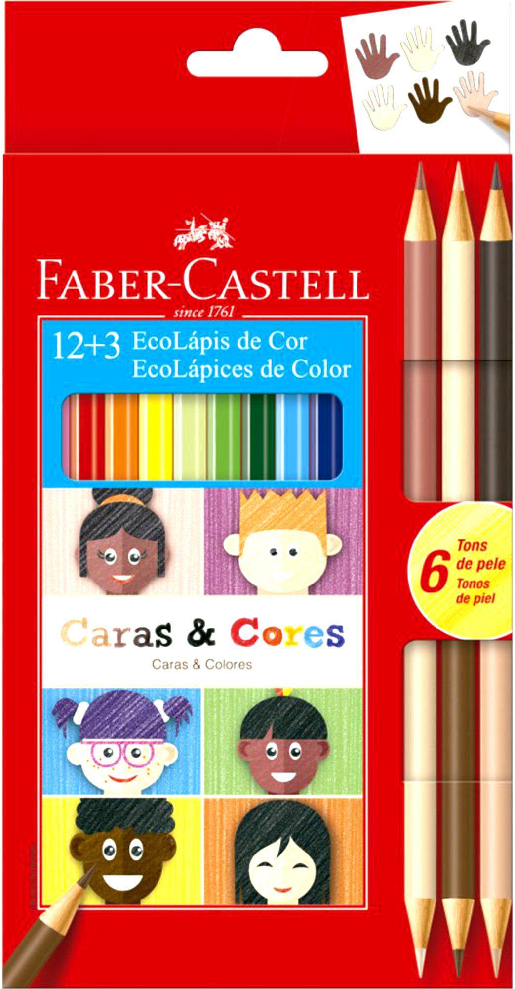 Lápis De Cor Faber Castell Caras e Cores 12 + 3