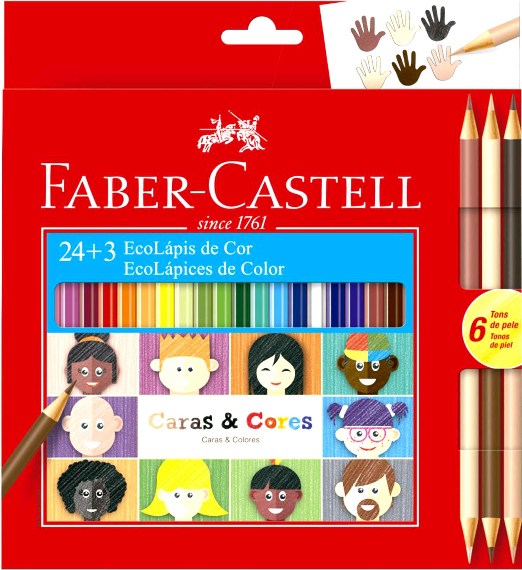 Lápis De Cor Faber Castell Caras e Cores 24+3