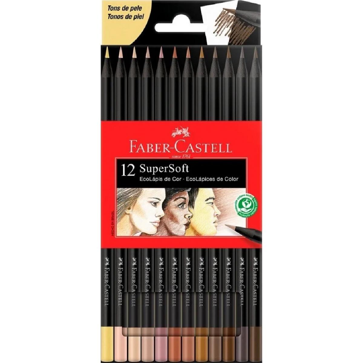 Lápis de Cor Faber Castell SuperSoft 12 Cores Tons de Pele