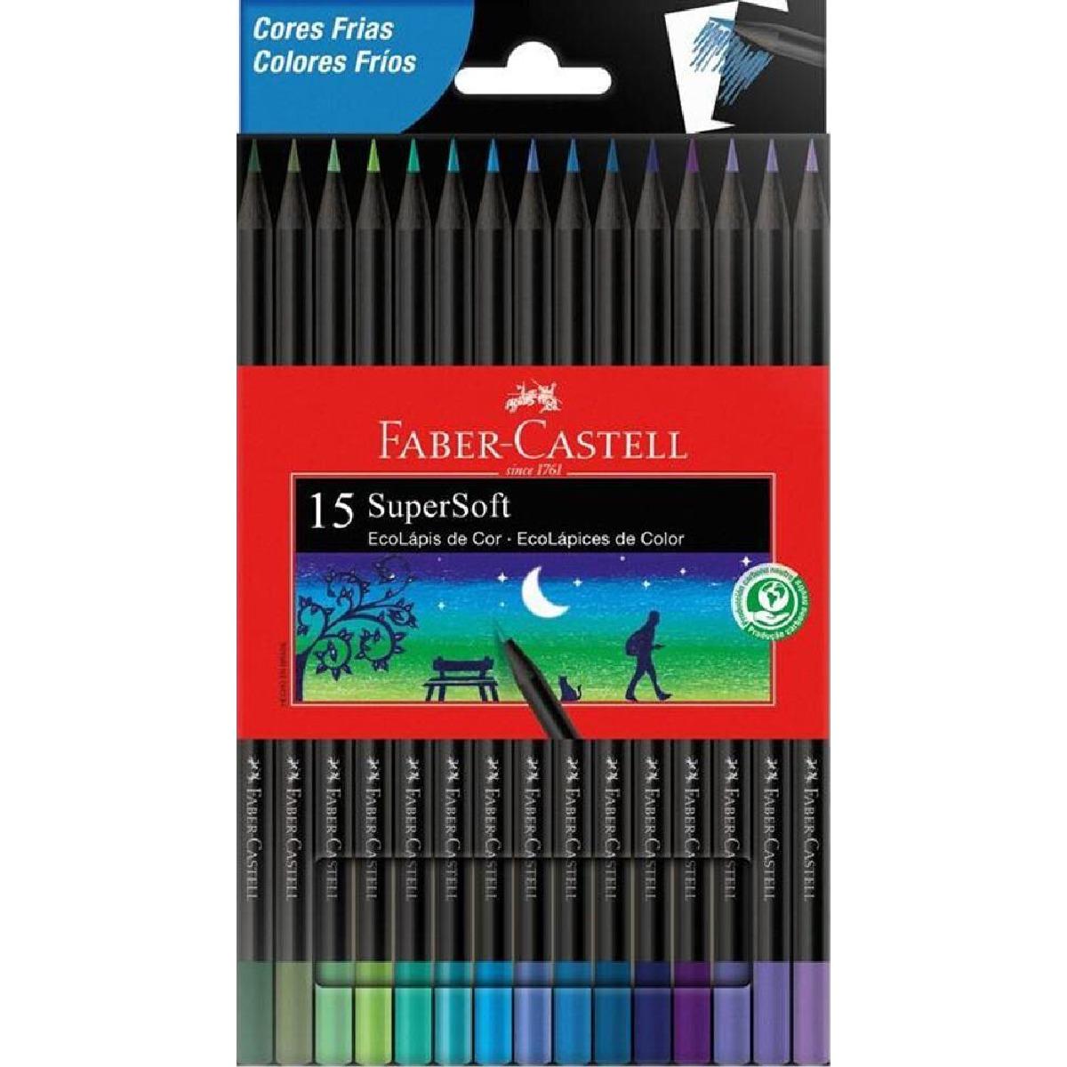 Lápis de Cor Faber Castell SuperSoft 15 Cores Frias