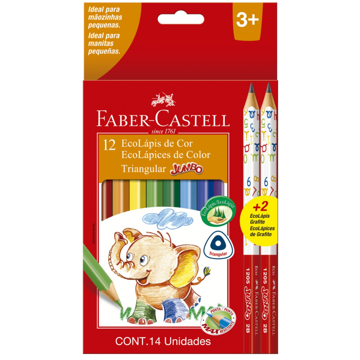 Lápis de Cor Jumbo Faber Castell 12 Cores Triangular Longo