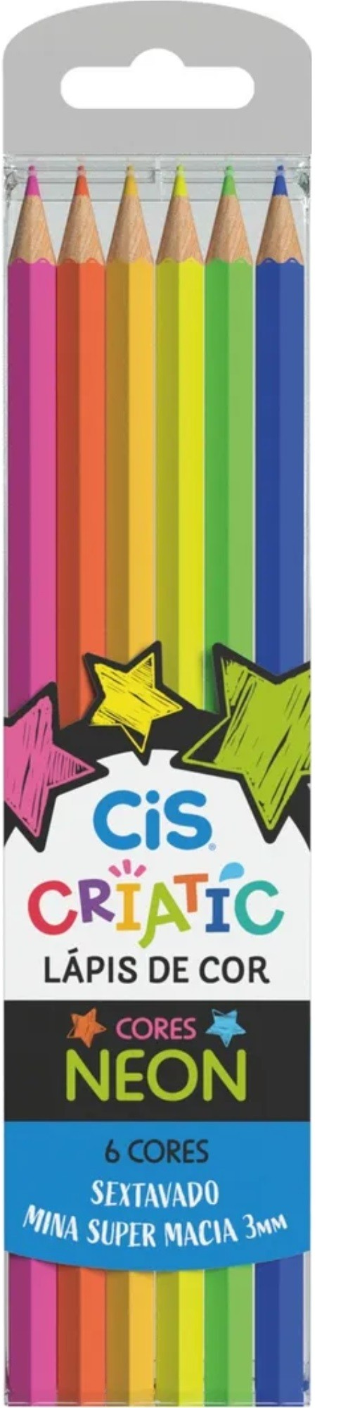 Lápis De Cor Neon Criatic Cis 6 Cores
