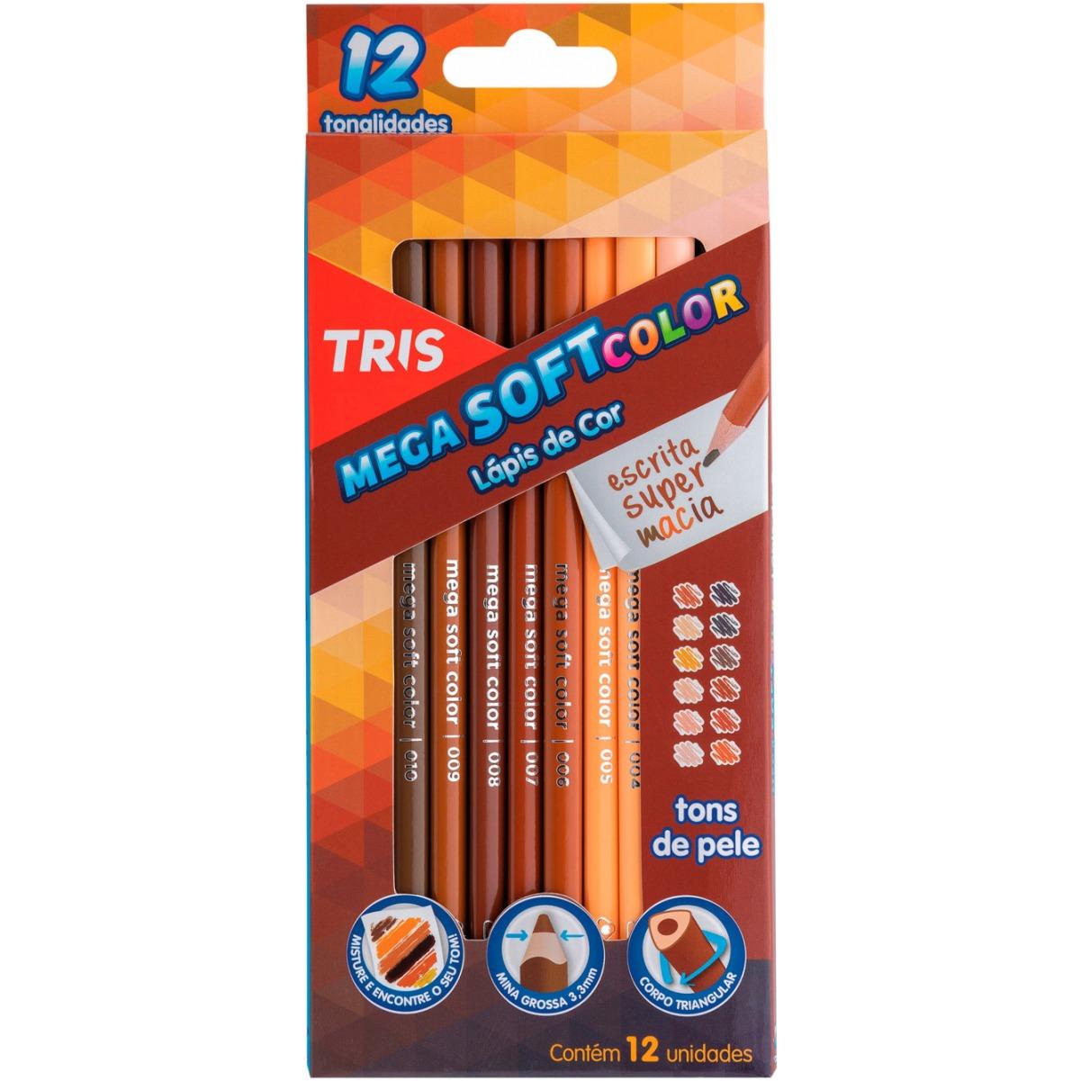 Lápis de Cor Tris Mega Soft Color Tons de Pele 12 Cores