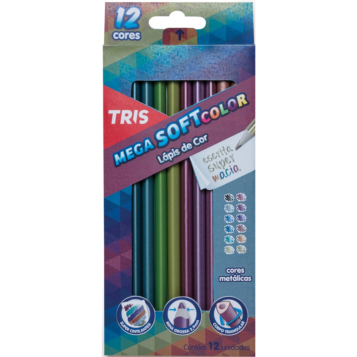 Lápis de Cor Tris Mega Soft Color Tons Metálicos 12 Cores
