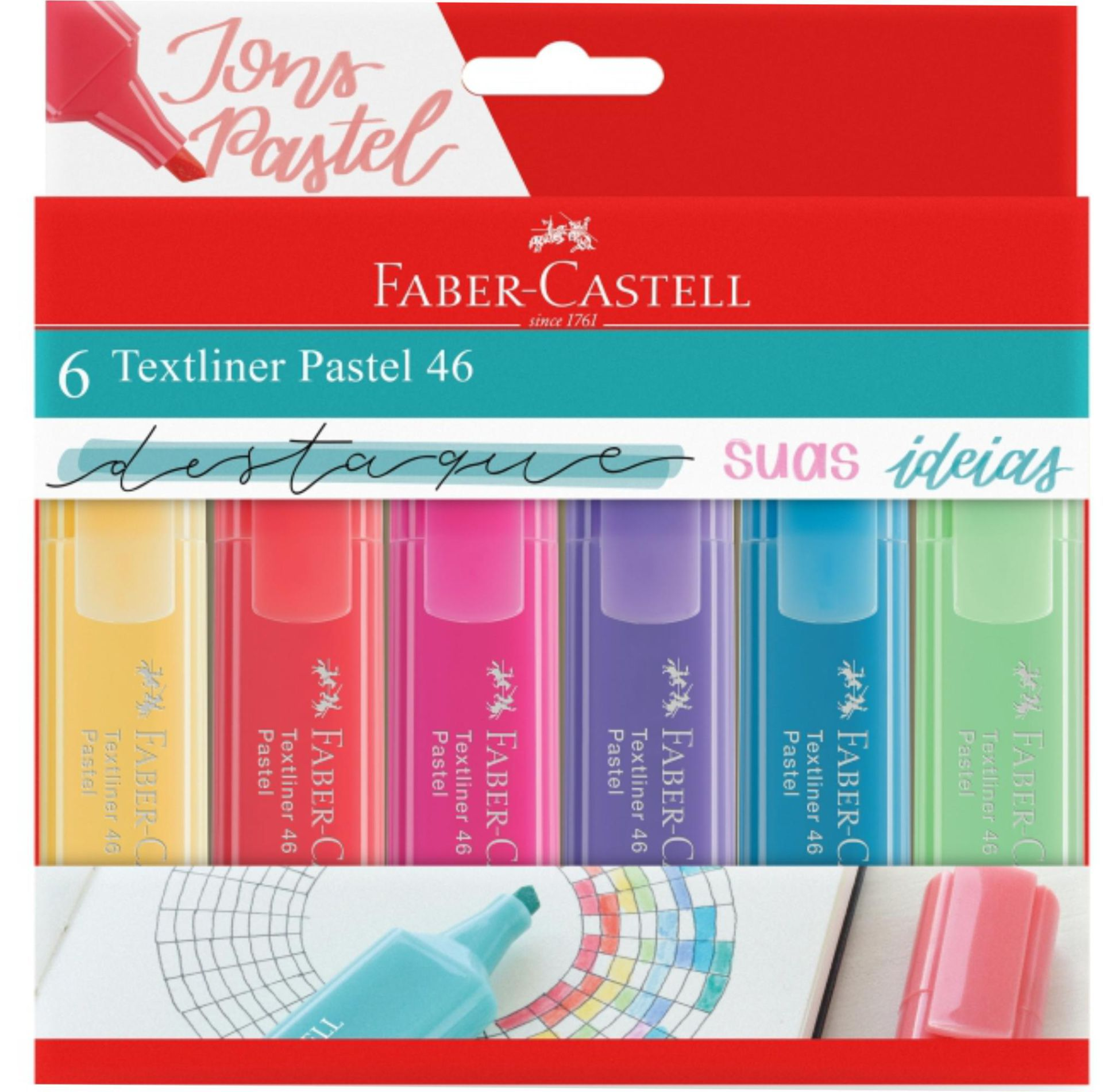 Marca Texto Textliner Faber Castel Pastel 6 Cores
