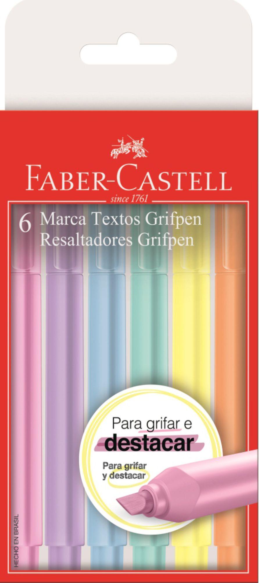 Marca Texto Grifpen Pastel Faber Castell 6 Cores