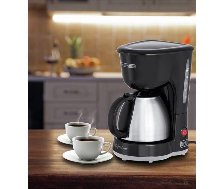 Cafeteira Elétrica Coffee Time CM15 600W até 18 Cafés Jarra em INOX 750ml Black+Decker