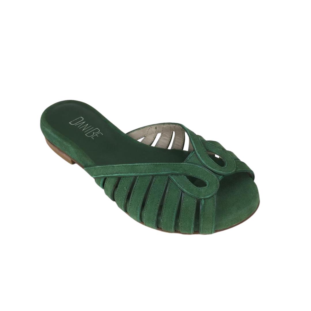 Chinelo Asas Camurça Verde 2 cm