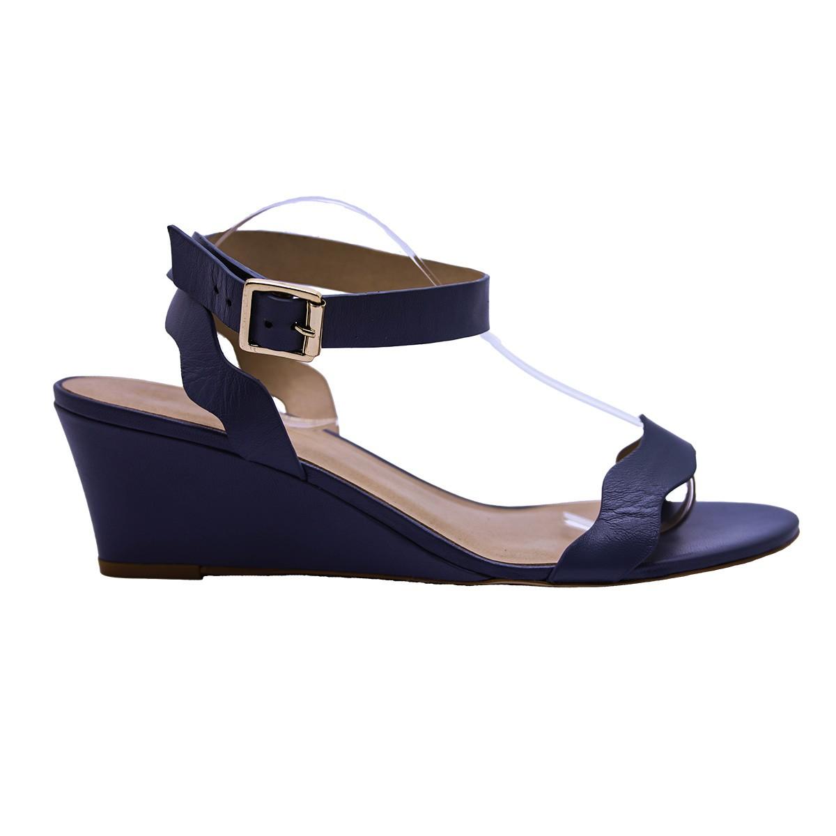 Sandália Anabela Ondas Couro Azul Jeans 4 cm