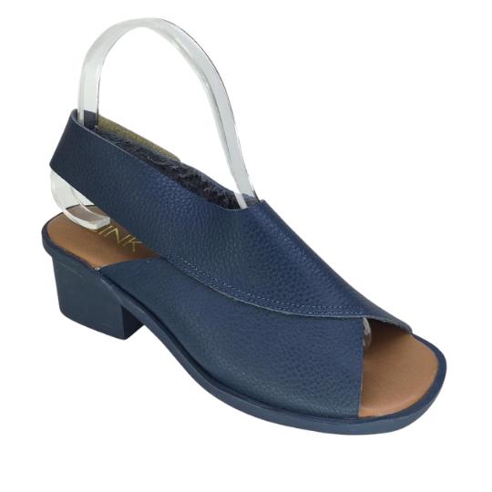 Sandália Larissa Couro Azul Jeans 4 cm
