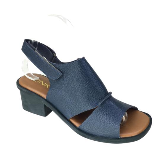 Sandália Lucia Couro Azul Jeans 4 cm