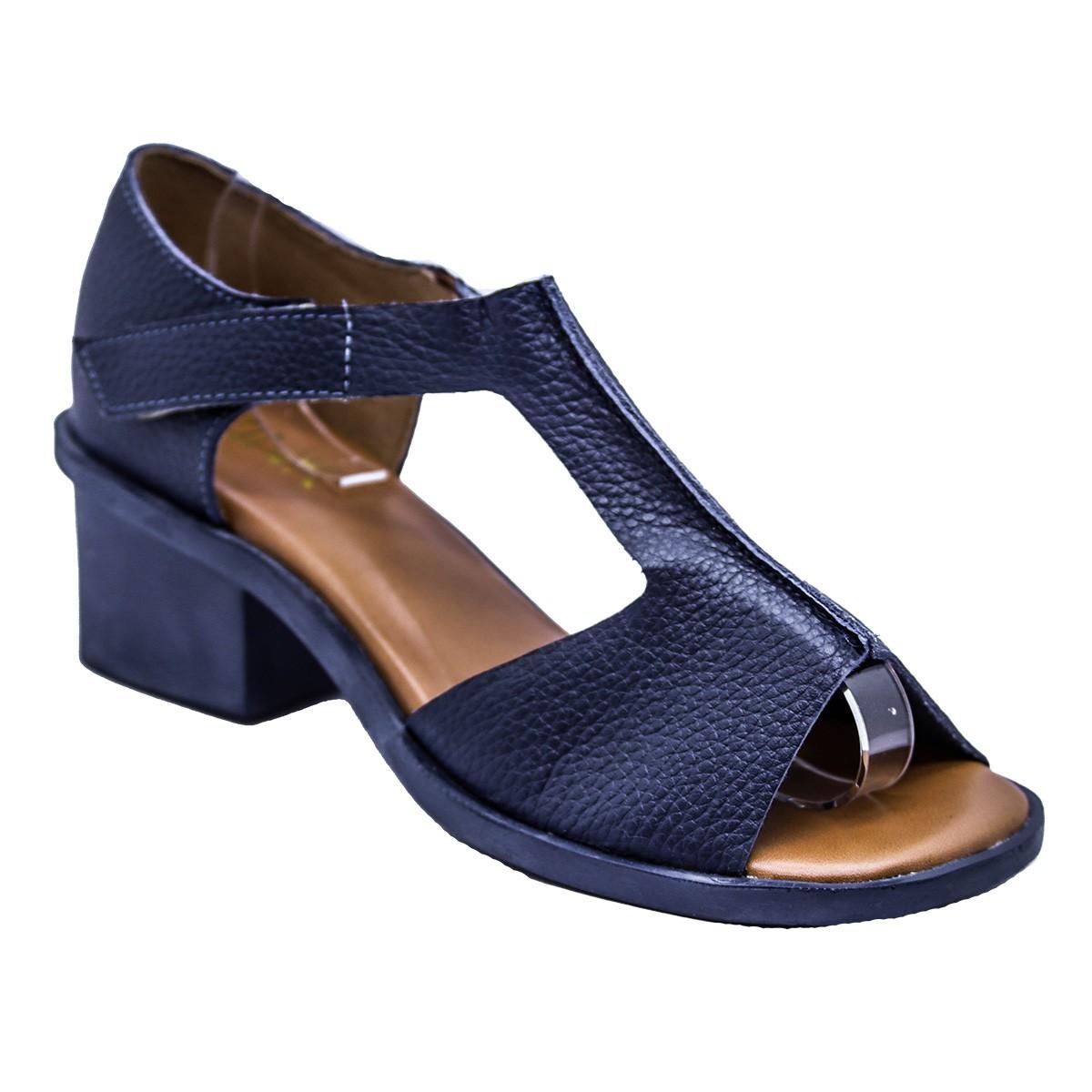 Sandália Nati Couro Azul Jeans 4 cm