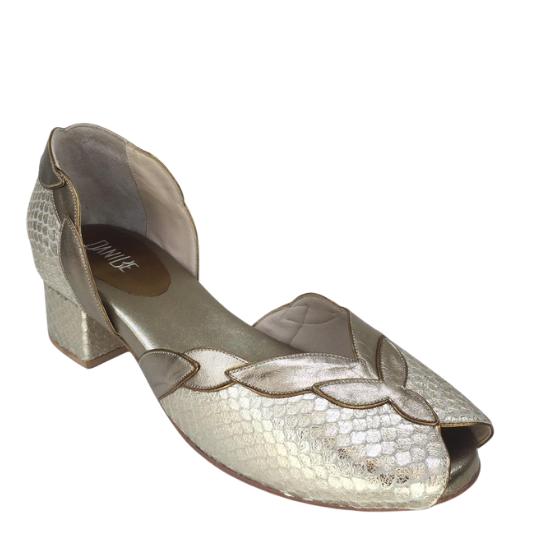 Sapato Atenas Tilápia Metalizada Prata Velho 3,5 cm