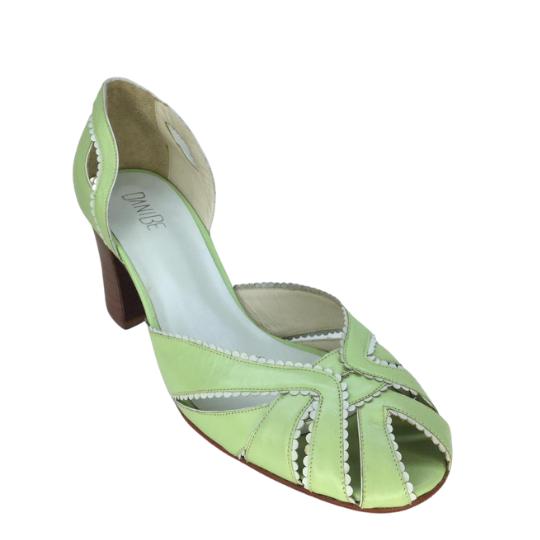 Sapato Babado Pelica Pistache 6 cm