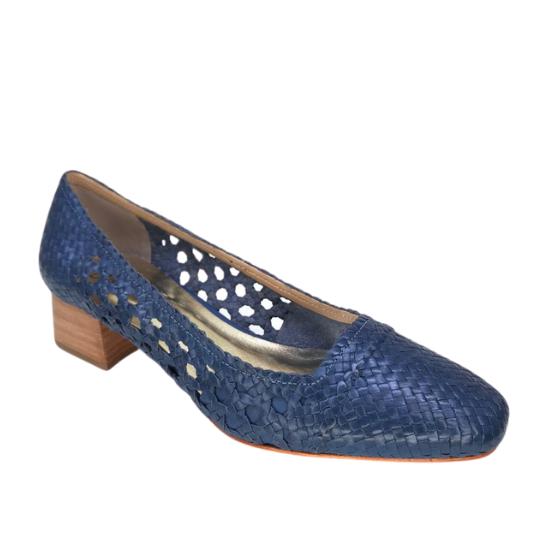 Sapato Bailarina Tresse Azul 3,5 cm