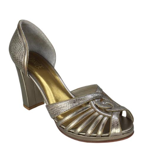 Sapato Demi Pelica Cobra Fake Prata Velho 8 cm