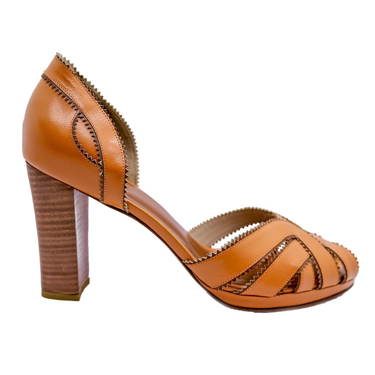 Sapato Elisa Pelica Laranja 8 cm