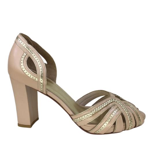 Sapato  Elisa Pelica Nude Rosado 8 cm