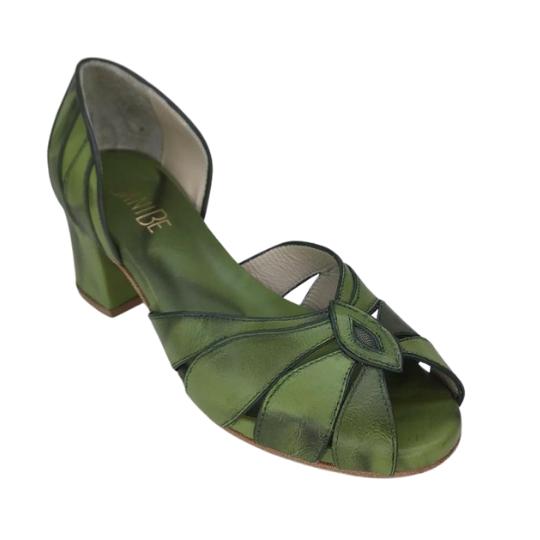 Sapato Flor Pelica Selvagem Verde 4 cm