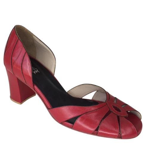 Sapato Flor Pelica Vermelha 6 cm