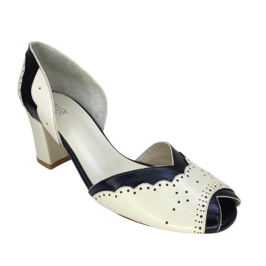 Sapato Florzinha Pelica Off White 6 cm
