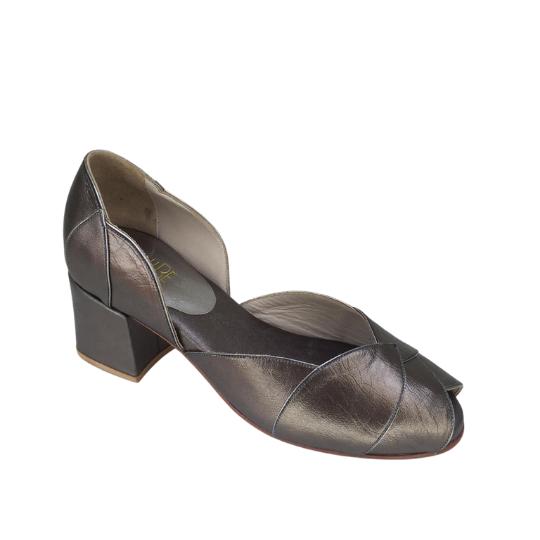 Sapato Folha Pelica Chumbo 5 cm