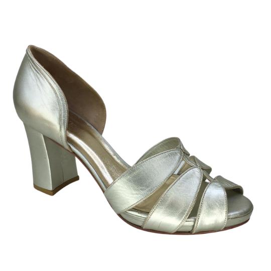 Sapato Folha Pelica Metalizada Pérola 8 cm