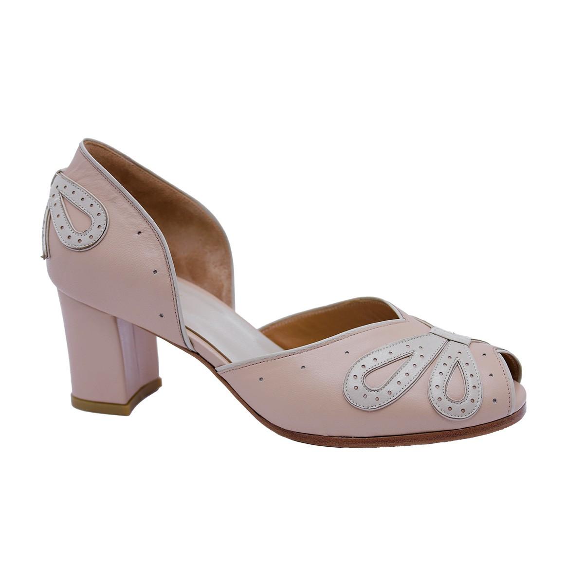 Sapato Laço Nude Rosado 6 cm