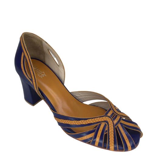 Sapato Luiza Pelica Azul 6 cm