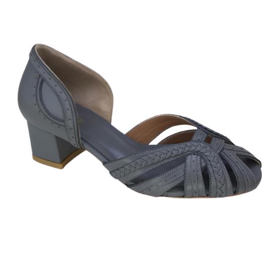 Sapato Luiza Pelica Cinza 4 cm